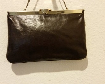 Vintage Elegant  Brown Leather Handbag