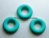 Large Turquoise Donut Silicone Teether, 43mm Round Circle Silicone Teether, Silicone Teether, 100% Food Grade Silicone Beads Sensory Beads