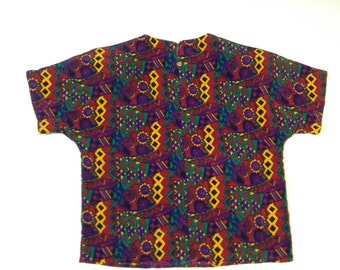 80's Tribal printed blouse. Vintage Boxy Blouse . Loose printed top