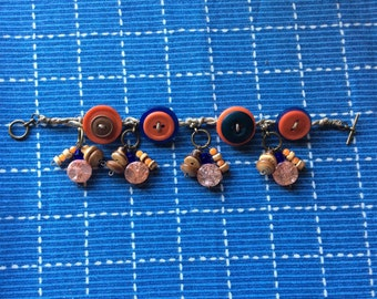 Vintage charm bracelet jewelry handmade from vintage buttons, beads, upcycled & repurposed vintage beads