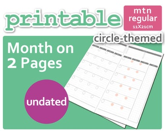 Circle-Theme Mo2P Month-On-2-Pages for Midori TN Regular Size