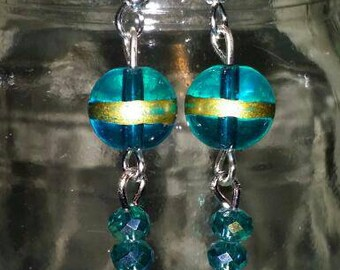 Blue, gold and green earrings, blue earrings, green earrings, gold earrings, dangle earrings, long earrings