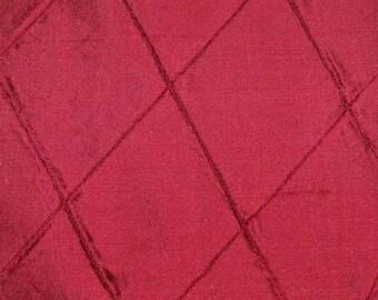 SILK LOOM EDINA Embroidered Diamond Harlequin Silk Fabric 10 Yards Red