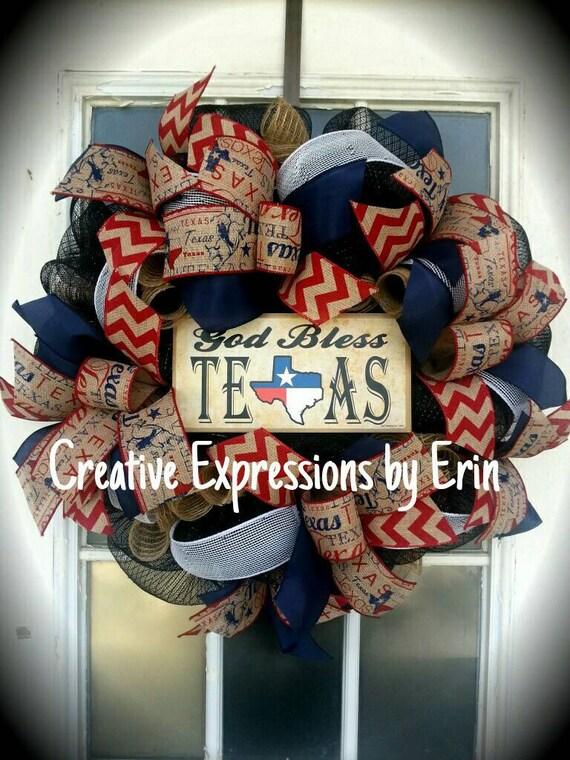 God bless texas texas wreath lone star wreath state for Lone star home decor