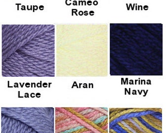 Yarn - Bernat Satin Sport - Wine,  Black, Clear Blue Sky or White