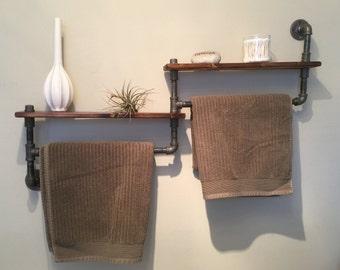 Industrial Pipe Bathroom Shelf / Towel rack
