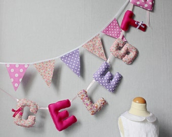 Fabric Letter Baby Name, Letters Banner, Kids Name Banners, Nursery Girl Name Art, Name Garland, Pink, Liberty, Alice in wonderland