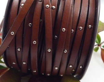 Flat brown leather with nails, 5 mm * 20 cm
