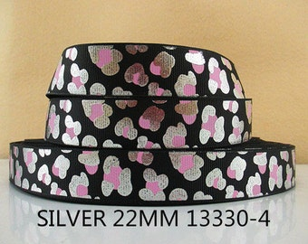 7/8 inch Silver With Pink Cheetah Leopard on Black - ANIMAL PRINT - 13330-4 Animal Print Printed Grosgrain Ribbon for Hair Bow