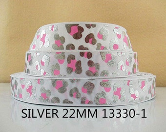 7/8 inch Silver With Pink Cheetah Leopard on White - ANIMAL PRINT - 13330-1 Animal Print Printed Grosgrain Ribbon for Hair Bow