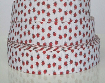 7/8 inch ITTY BITTY Red Baby Ladybugs on White Printed Grosgrain Ribbon for Hair Bow