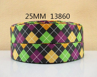 1 inch Argyle - Yellow Lime Green Purple on Black - PLAID - 13860 - HALLOWEEN - Printed Grosgrain Ribbon for Hair Bow