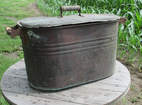Boiler wash tub copper tin amish planter vintage beer tub wine for Tin tub planters
