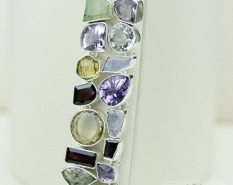 Amethyst PREHNITE Citrine Rainbow MOONSTONE 925 S0LID Sterling Silver Bracelet & FREE Worldwide Express Shipping B673