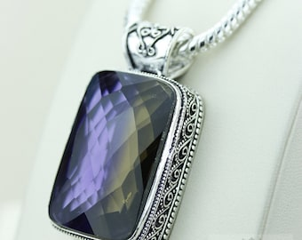 75 Ct Checkerboard cut Irradiated AMETRINE 925 S0LID Sterling Silver Vintage Style Pendant + 4mm Snake Chain & Free Worldwide Shipping p2591