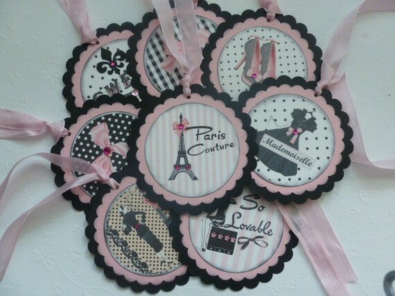 In Style Party Favors: Paris Party Favor Tags Gift Tags Vintage Style Pink And Black