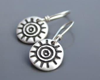 Tribal Sun Simple Silver Earrings