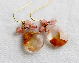 Fire Cherry Quartz, Brass Cluster Earrings, Gemstone Earrings