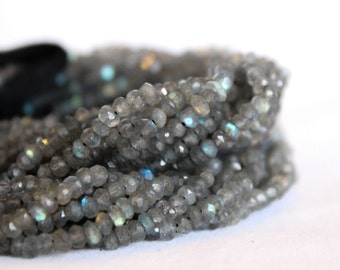 "Labradorite Beads - Full Strand 13.5"" - 3mm x 4mm Rondelle Beads - Faceted Beads - Gray Beads - Wholesale Beads - Gemstone Findings / GB-007"