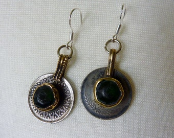 Green Tribal Coin-Earrings, Kuchi Coins