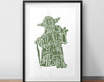 Star Wars Yoda Jedi Typography Quote Art Print