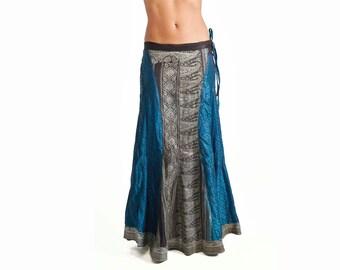 Blue vintage sari skirt, bollywod skirt, sari skirt, bellydance skirt, tribal fusion skirt