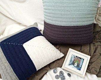Navy, Grey and Off-White Pure Wool Crochet Cushion Cover