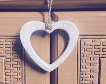 Personalised Delicate Clay Hollow Heart Hanging
