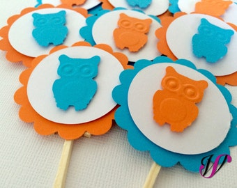 12 Giggle and Hoot Cupcake Toppers - Blue and Orange - 2in - Birthday