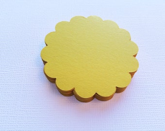 25 Lemon Yellow Scallop Circles, Paper Die Cuts, Punches - 2""