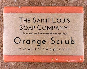 Orange Scrub Soap – Vegan Soap, Fragrance Free Soap, All Natural Soap, Hand Made Soap, Citrus Soap, Essential Oil Soap, Exfoliating Soap