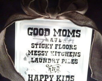 Good Moms and Happy Kids Lighted Glass Block Lamp