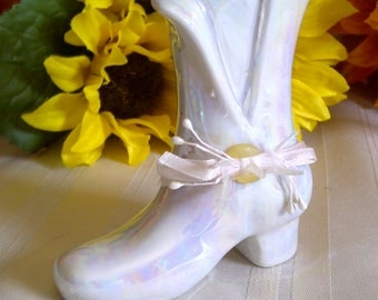 Vintage Pearlized Iridescent Porcelain Boot.