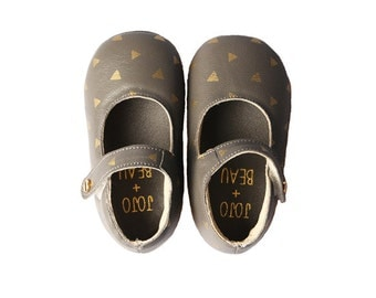 Baby MaryJane shoes (Grey & Gold)