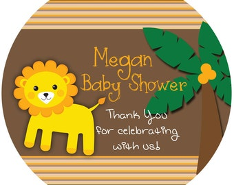 Baby Shower Personalized Favor Sticker - Lion Baby Shower Label - Jungle King Personalize Baby Label