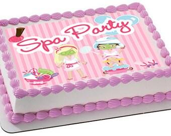 Spa party edible cake topper, spa party cupcake toppers, spa party edible, spa party edible cake topper, spa party favors, spa party cookies