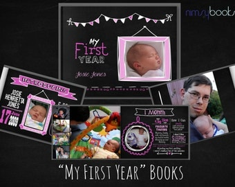My First Year baby book. Personalised, semi-custom design. Chalkboard theme. Hard cover A4 . 52 pages