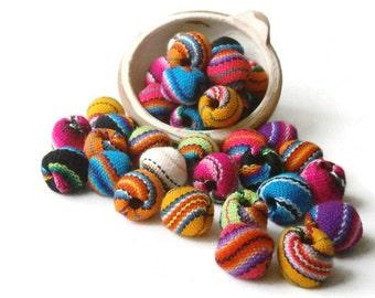 boho beads, jewelry making, barrel fabric beads, handmade beads, tribal beads 20 x 21 mm LOT OF 25