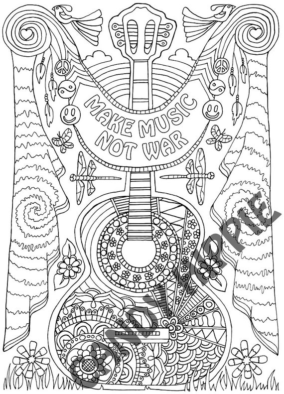 coloring page for adults make music printable coloring page for mindfulness coloring and art therapy
