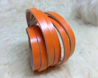 Orange Leather wrap Bracelet