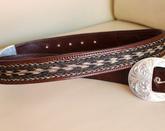 100% Leather Western Belt with Silver Buckle (For Tory)