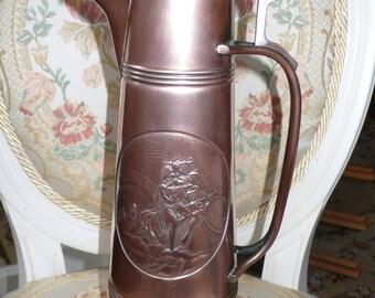 Antique  large Art Nouveau Jugendstil solid copper wine Jug claret decanter 1900-s