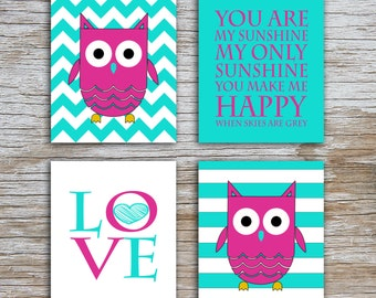 Kids (D) - You Are  My Sunshine - Owl - Fuscia Turquoise - 4 Parts