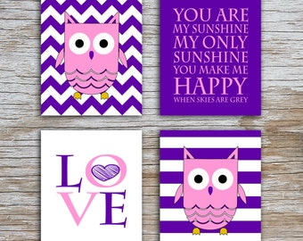Kids (D) - You Are  My Sunshine - Owl - Purple Pink - 4 Parts