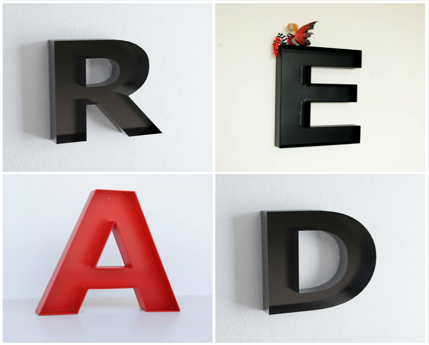 Wall Decor Metal Numbers : Read letters library decor wall large by