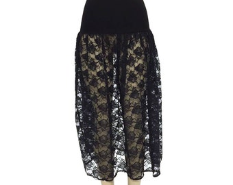Womens Black Lace Skirt