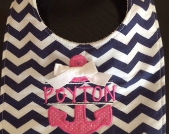 Anchor embroidery and appliqué bib, burp cloth, taggie, onsie or t-shirt