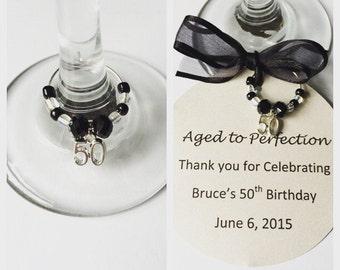 50th Birthday Wine Glass Charms-Birthday Wine Charm-50th Birthday Decorations-50th Birthday Gift