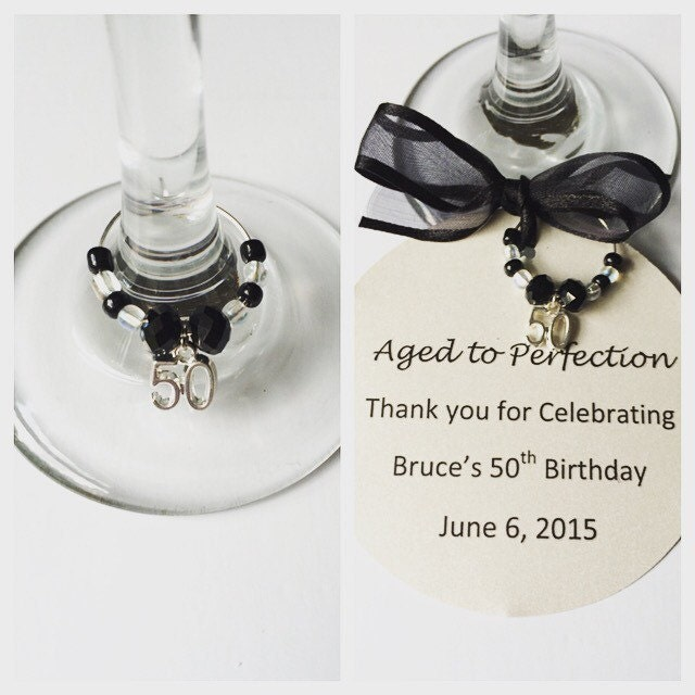 50th Birthday Wine Glass Charms-Birthday Wine By