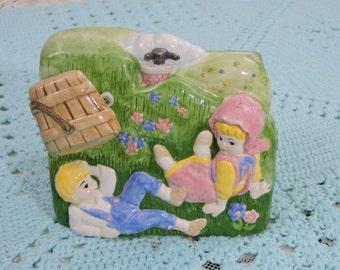 Planter Musical Jack & Jill Nursery Rhyme Ceramic Vintage